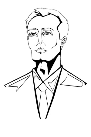 illustration of business man in line art style Vector