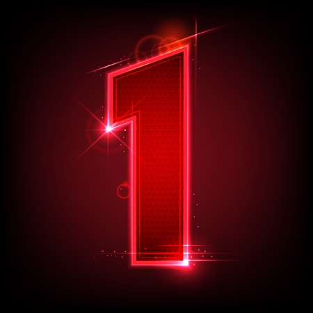 one by one: illustration of glowing number seven on abstract background Illustration