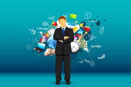 illustratie van staande zakenman met object rondom