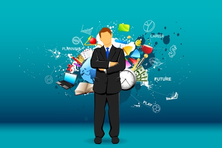 overload: illustration of standing businessman with object all around Illustration
