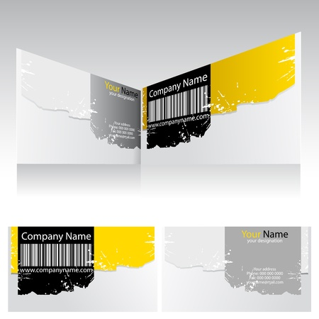 visiting: illustration of front and back of corporate business card with barcode