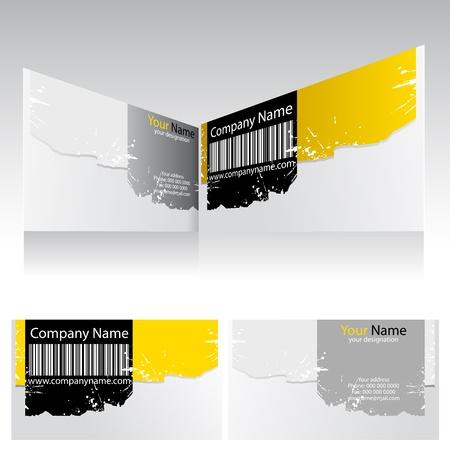 ilustración de la parte delantera y trasera de la tarjeta de negocio de empresas con código de barras