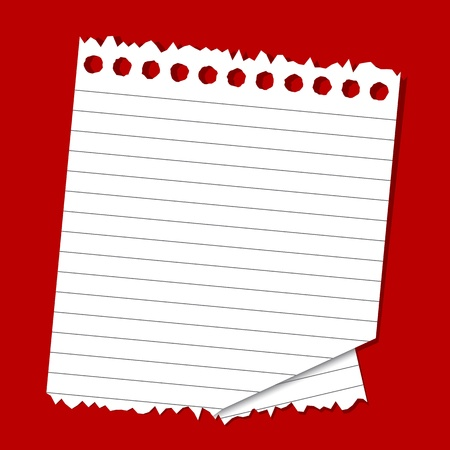 illustration of lined paper on plain red background Vector