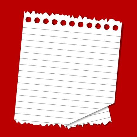 hoja en blanco: ilustraci�n de papel rayado sobre fondo rojo liso