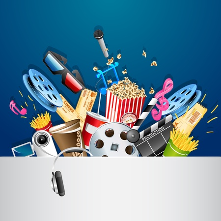 music production: illustration of cinema background with different movie object Illustration