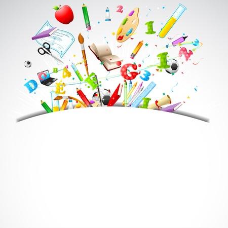 zaino scuola: illustrazione di educazione sul retro dell'oggetto di sfondo scuola