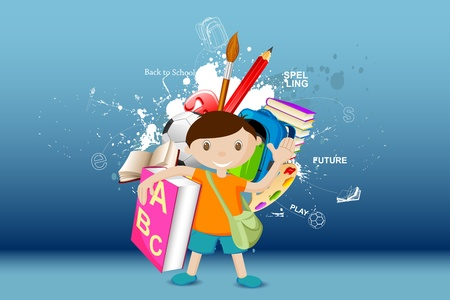illustration of boy standing with book on eductaion background