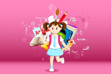 alphabet kids: illustration of girl with grade sheet on education background