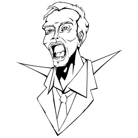 illustration of angry business man in line art style Vector
