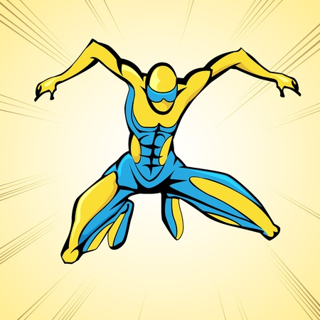 illustration of jumping superhero on abstract background Vector