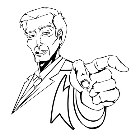 illustration of business man pointing forward in line art style Vector
