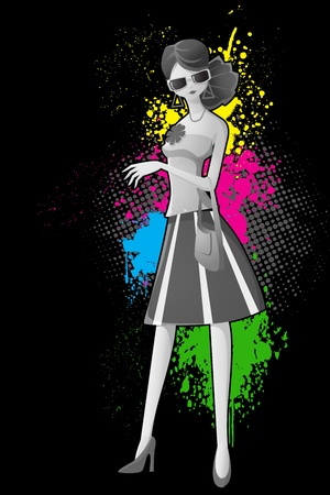 illustration of lady in retro style on colorful grungy background Stock Vector - 13475339