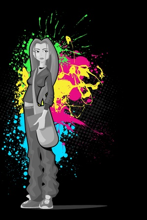 illustration of young girl with bag standing in attitude on colorful grungy background Stock Vector - 13475340