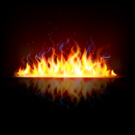illustration of glowing fire flame with sparks Stock Vector - 13475356