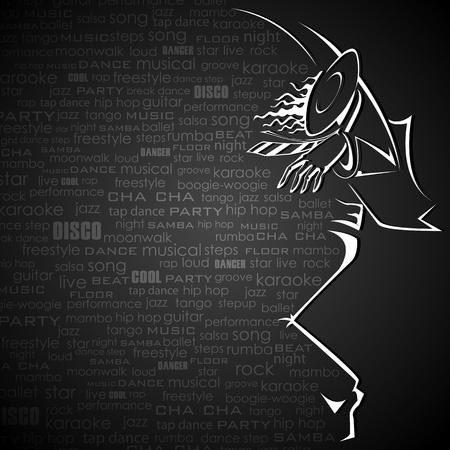 ilustración de la bailarina en fondo abstracto con la nube de baile palabra
