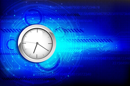 hi tech: illustration of clock on hi tech background with numbers