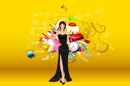 illustration of standing fashionable lady with object all around Vector