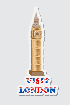 big ben tower: illustraion of sticker of visit London with Big Ben Tower