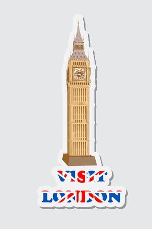 illustraion: illustraion of sticker of visit London with Big Ben Tower