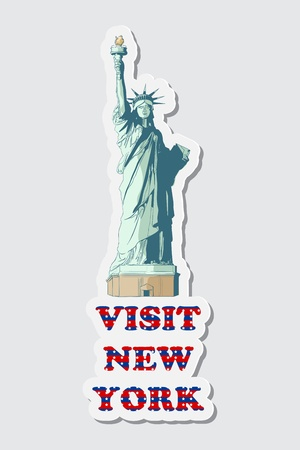 illustraion of sticker of visit New York with Statue of Liberty Vector