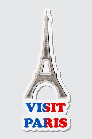 illustraion: illustraion of sticker of visit Paris with Eiffel Tower