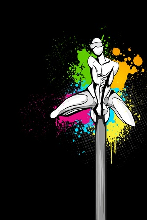 illustration of superhero on abstract grungy background Vector