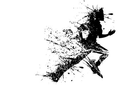 illustrazione, di, silhouette corridore splashy su sfondo bianco Vettoriali