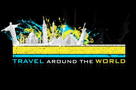 illustration of world famous monument on colorful grungy background Vector