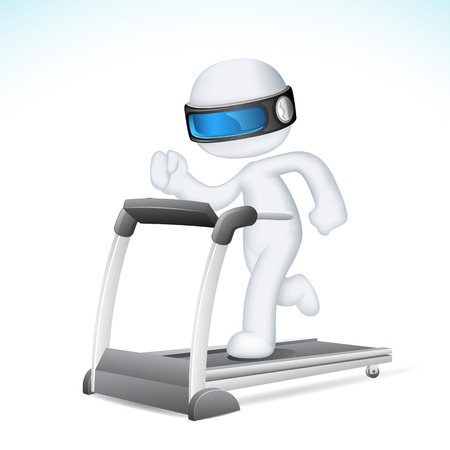physical pressure: illustration of 3d Man in fully scalable vector running on treadmill