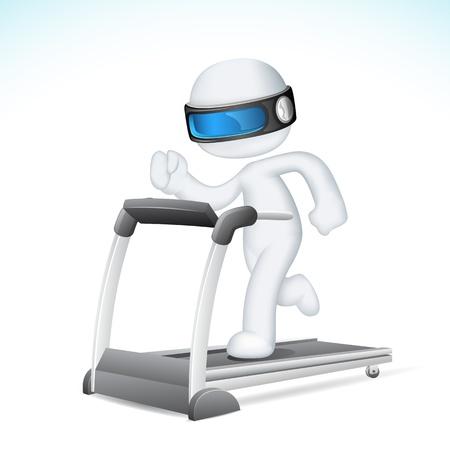 illustration of 3d Man in fully scalable vector running on treadmill Stock Vector - 13475363