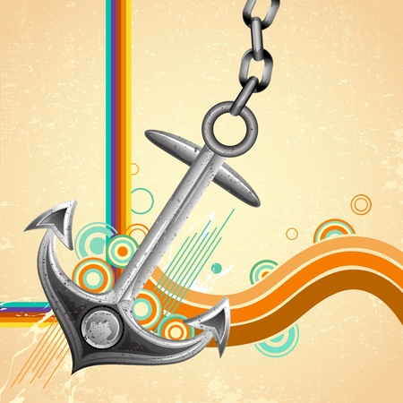 ship anchor: illustration of metal anchor on abstract retro background