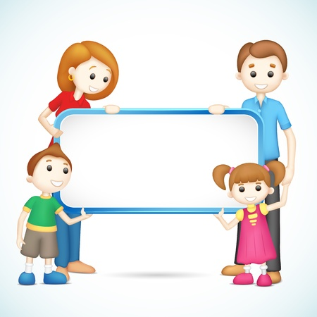 illustration of 3d happy family in vector fully scalable holding placard Vector