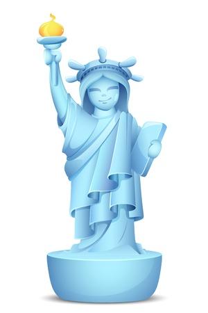 동상: 흰색 배경에 자유의 여신상의 모델 illustraion
