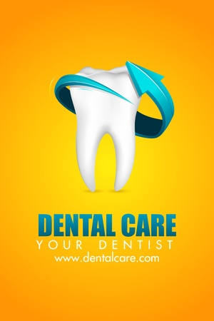 dental hygiene: illustration of arrow around tooth on abstract background