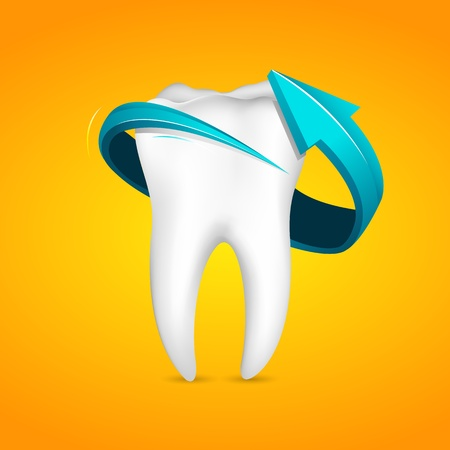illustration of arrow around tooth on abstract background Vector