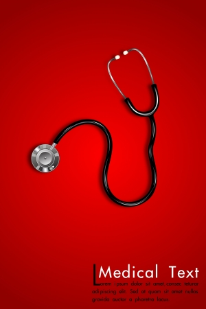 checkup: illustration of stethoscope on abstract medical background