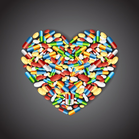 pharmacy pills: illustration of colorful medical pill forming heart shape