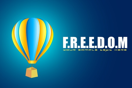 sky dive: illustration of hot air balloon in motivational freedom background