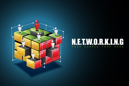 illustration of human connecting with each other on networking background Vector