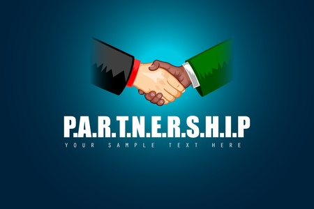 illustration of black and white male handshaking showing Partnership Vector