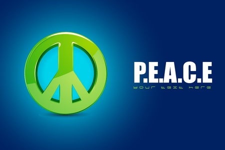illustration of peace symbol on motivational background Vector