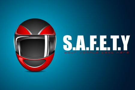 sport wear: illustration of halmet on motivational safety background