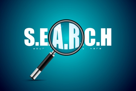 forensic science: illustration of magnifying glass on search background Illustration