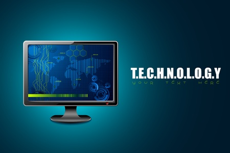 illustration of computer monitor on technology background Vector