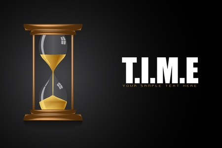 illustration of hourglass showing time on motivational time background Vector
