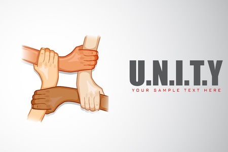 illustration of hands holding each other on motivational unity background