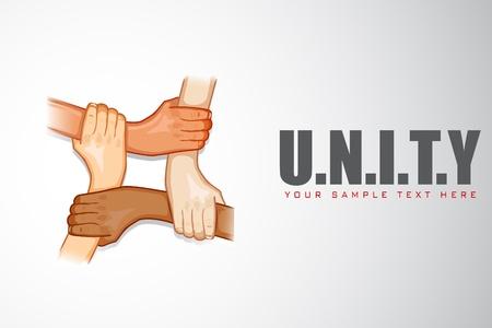 la union hace la fuerza: ilustración de las manos la celebración de unos a otros en el fondo la unidad de motivación