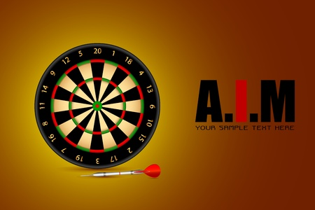 dart board: illustration of dart board on motivational AIM background