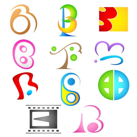 letter b: illustration of set of different colorful icon for alphabet b