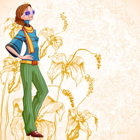 illustration of woman in retro style make up on floral background Stock Illustration - 13475436
